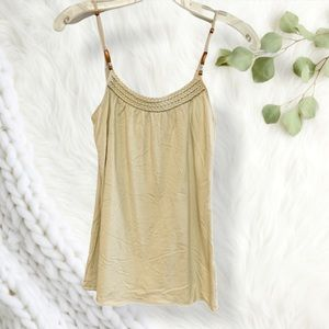 Personal identity oatmeal braided beaded tank top